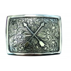 ANDWEST ICONIC ANTIQUE SILVER CROSSED ARROWS BUCKLE