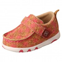 TWISTED X INFANT DRIVING MOC, TAN/PINK