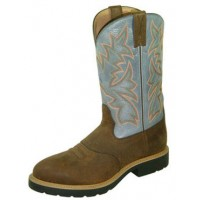 TWISTED X COWBOY WORK MENS U TOE PULL ON BOOT, EE WIDTH, 12 INCH, SADDLE DENIM