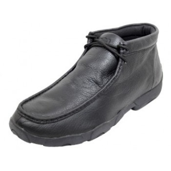 TWISTED X CASUAL MENS LACED DRIVING MOC, D TOE, MEDIUM WIDTH, SOFTY BLACK