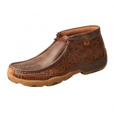 TWISTED X MEN'S DRIVING MOC - HIGH, MEDIUM WIDTH, D TOE, TOOLED/BROWN