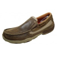 TWISTED X CASUAL MENS DRIVING MOC SLIPON, D TOE, BROWN