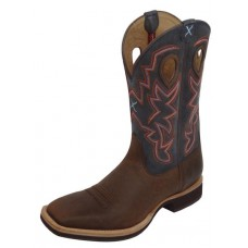 TWISTED X HORSEMAN MENS WS TOE BOOT, EE WIDTH, 12 INCH, DISTRESSED SADDLE/DENIM