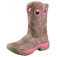 TWISTED X LADIES ALL AROUND BOOT, K TOE, 9 INCH, DUSTY TAN/NEON PINK