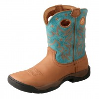 TWISTED X LADIES ALL AROUND BOOT, K TOE, MEDIUM WIDTH, 9 INCH, CAMEL/TURQUOISE
