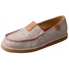 TWISTED X LADIES SLIP-ON LOAFER, LIGHT GREY/PINK
