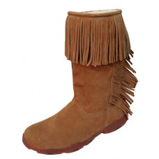 TWISTED X LADIES CASUAL DRIVING MOC with FRINGE, D TOE, NATURAL