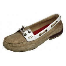 TWISTED X LADIES DRIVING MOC, D TOE, DUSTY TAN/WHITE