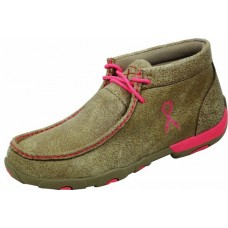 TWISTED X LADIES DRIVING MOC, D TOE, BOMBER/PINK RIBBON