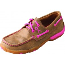 TWISTED X LADIES CASUAL DRIVING MOC, D TOE, BOMBER/PINK
