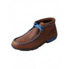 TWISTED X LADIES DRIVING MOC, D TOE, HIGH, BROWN/BLUE