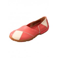 TWISTED X LADIES CASUAL LOAFER, D TOE, CORAL/BIRCH