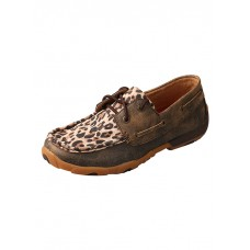 TWISTED X LADIES DRIVING MOC, D TOE, DISTRESSED LEOPARD