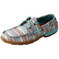 TWISTED X LADIES BOAT SHOE DRIVING MOC D TOE, TURQUOISE/MULTI