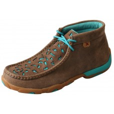 TWISTED X LADIES CHUKKA DRIVING MOC D TOE, BOMBER/TURQUOISE