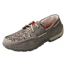 TWISTED X LADIES BOAT SHOE DRIVING MOC, D TOE, GREY/MULTI