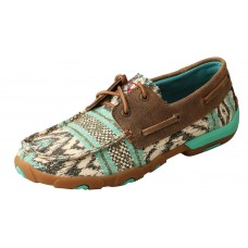 TWISTED X LADIES BOAT SHOE DRIVING MOC, D TOE, MULTI/BOMBER