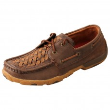 TWISTED X LADIES BOAT SHOE DRIVING MOC, D TOE, TAN/BROWN