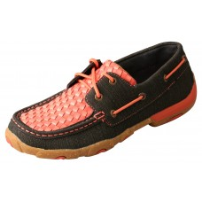 TWISTED X LADIES CASUAL BOAT SHOE DRIVING MOC, D TOE, CORAL/BLACK
