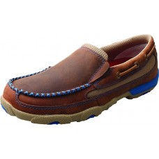 TWISTED X LADIES DRIVING MOC SLIP ON, D TOE, OILED SADDLE/BLUE