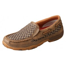 TWISTED X LADIES SLIP-ON DRIVING MOC, D TOE, BOMBER/CHEVRON