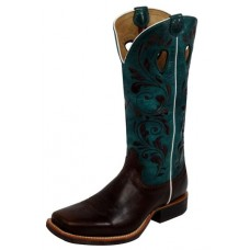 TWISTED X LADIES RUFF STOCK BOOT, PWS TOE, B WIDTH, 13 INCH, CHOCOLATE/TURQUOISE