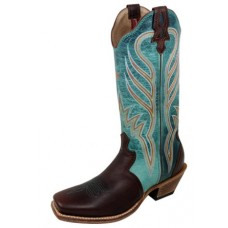 TWISTED X LADIES STEPPIN OUT BOOT,PWS TOE, B WIDTH, 13 INCH, SADDLE/TURQUOISE