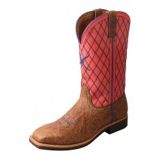 TWISTED X LADIES TOP HAND BOOT, WS TOE, 11 INCH, BROWN SHOULDER/CORAL